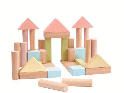 40 קוביות עץ - צבעי פסטל